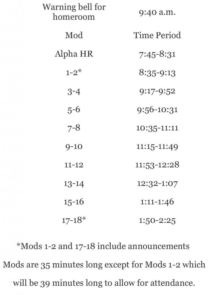 Alpha homeroom schedule